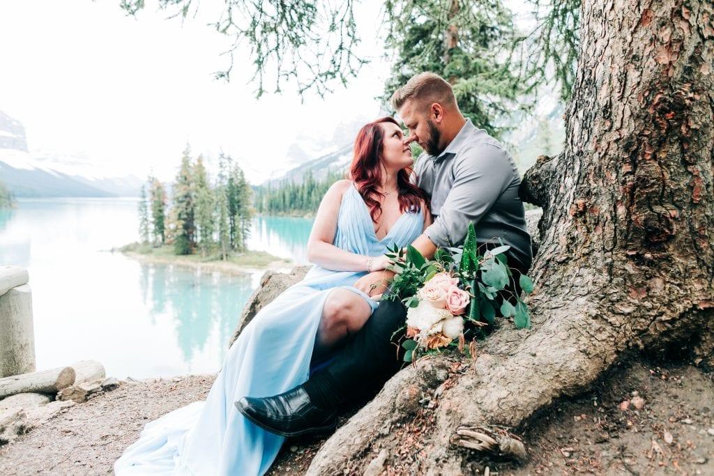 Couple Vow Renewal at Spirit Island Jasper National Park