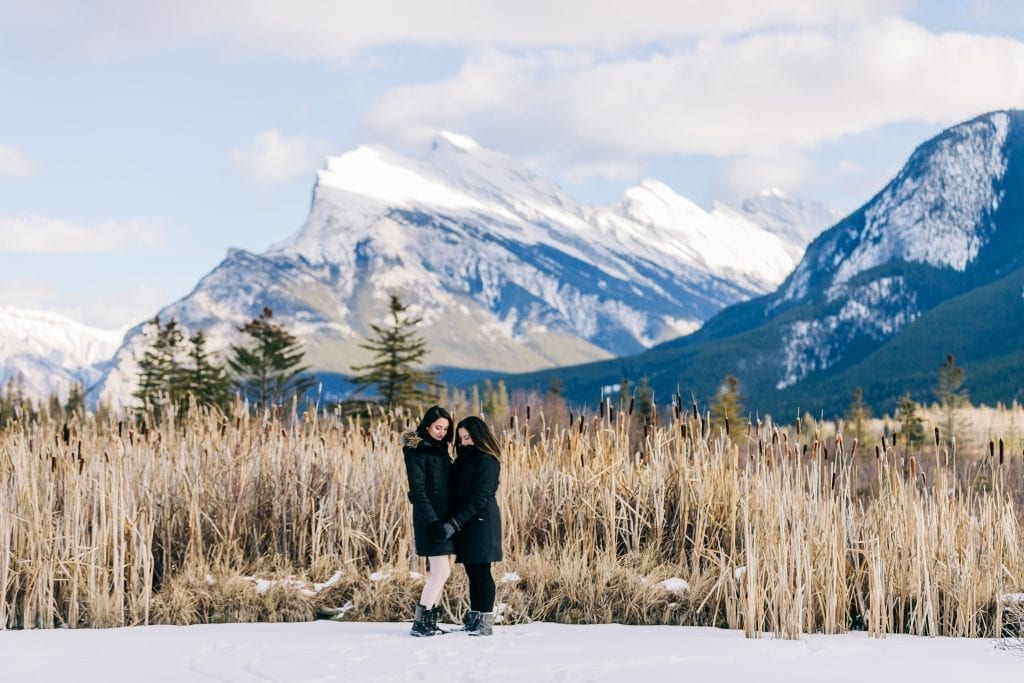 couple at Vermillion lake Banff