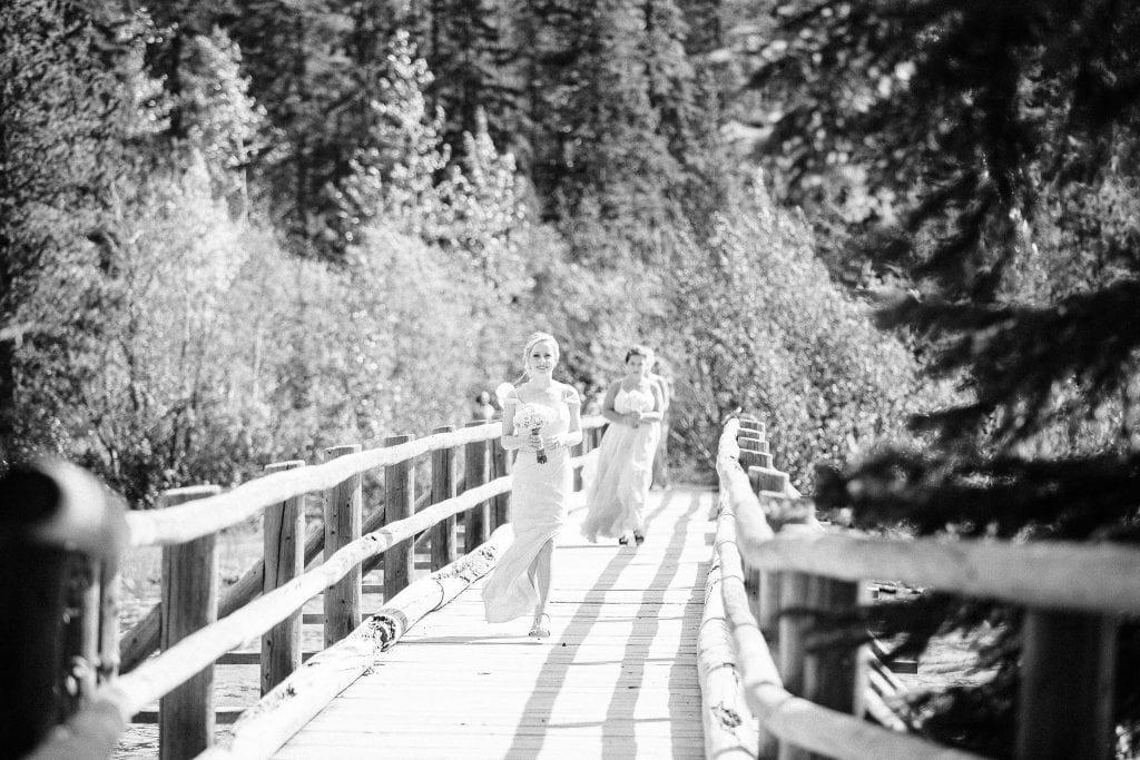 Bridal Party Walking along the bridge on Pyramid Lake