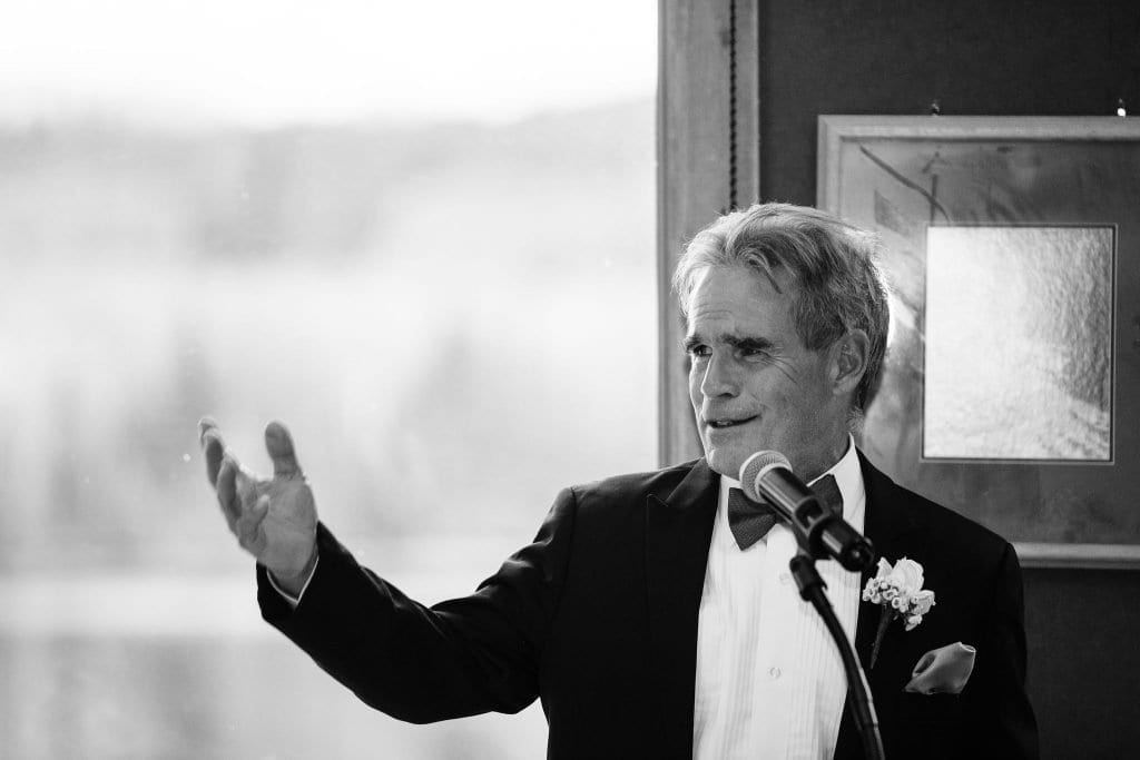 Bride's dad giving an emotional speech and welcome to the family toast