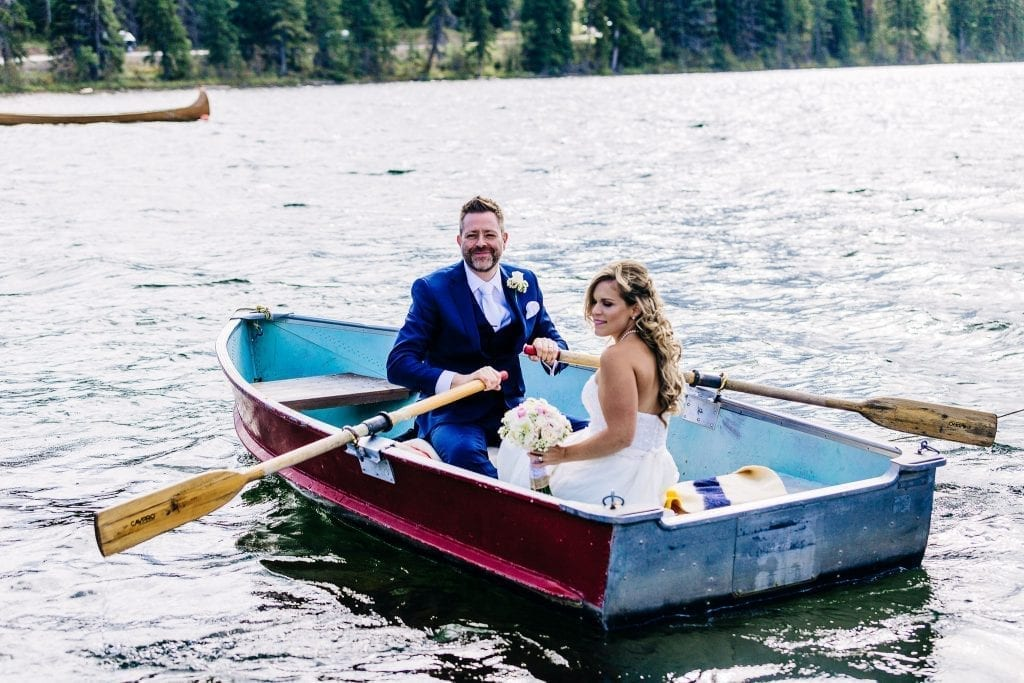 Bride and Groom on a boat photos in Jasper