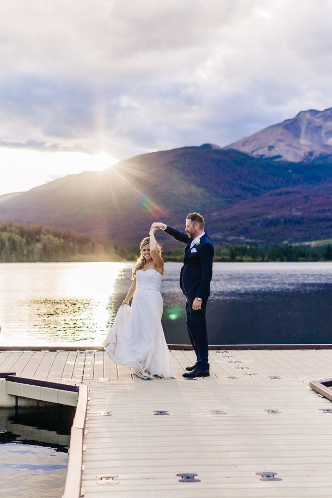 Bride and Groom Dancing on the sunset by Pyramid Lake