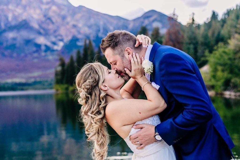 Bride and Groom Kissing photos Jasper Alberta