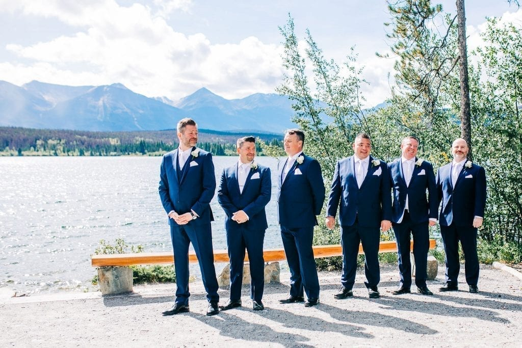 Groom and Bridal Party ready to start ceremony on Pyramid Lake