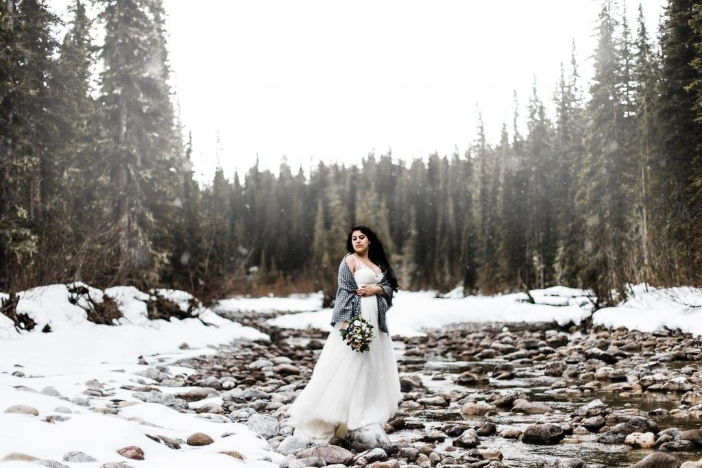 Bride in snow in Jasper National Park